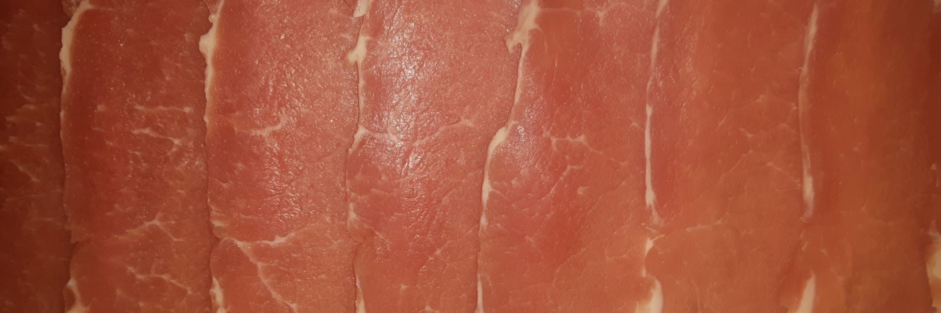 Dry cure back bacon,home cured and sliced thicker for a local restaurant in the New Forest, Hampshire