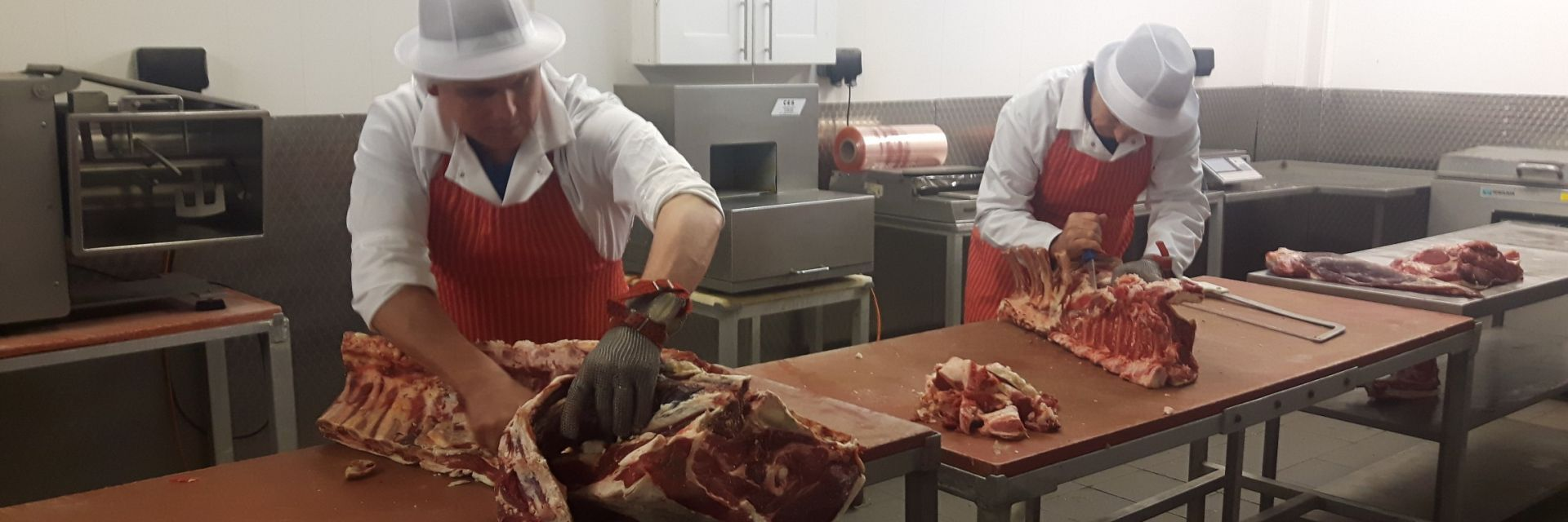 New forest beef steaks being prepared by our butchers